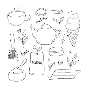 手描き抹茶の材料と伝統的な儀式の要素、カップ、スプーン、抹茶の葉のセット。落書きスケッチスタイルのイラスト。