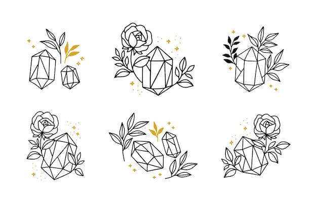 手描きのミニマルなクリスタルの葉とバラの花のロゴ要素のセット