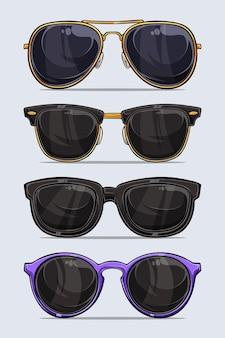 Набор рисованной современные и красивые солнцезащитные очки с тенями и огнями, изолированные на белом фоне