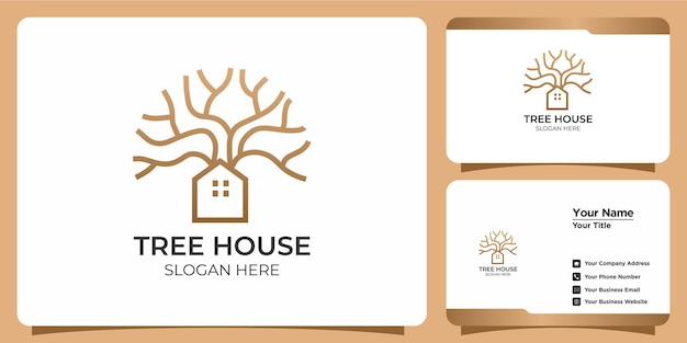 손으로 그린 현대 트리 하우스 템플릿 로고 및 명함 세트