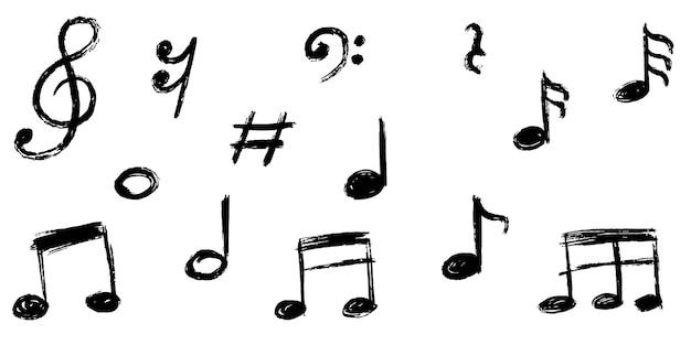 白い背景で隔離の手描きの音符落書きのセットです。ベクトルイラスト。
