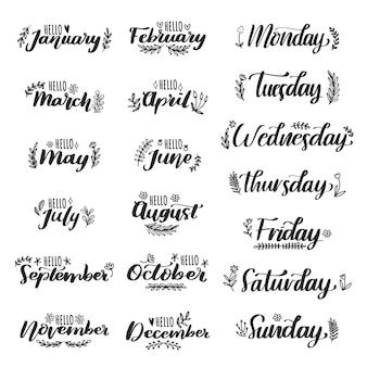 Набор рисованной названий месяцев и дней с цветочными рисунками