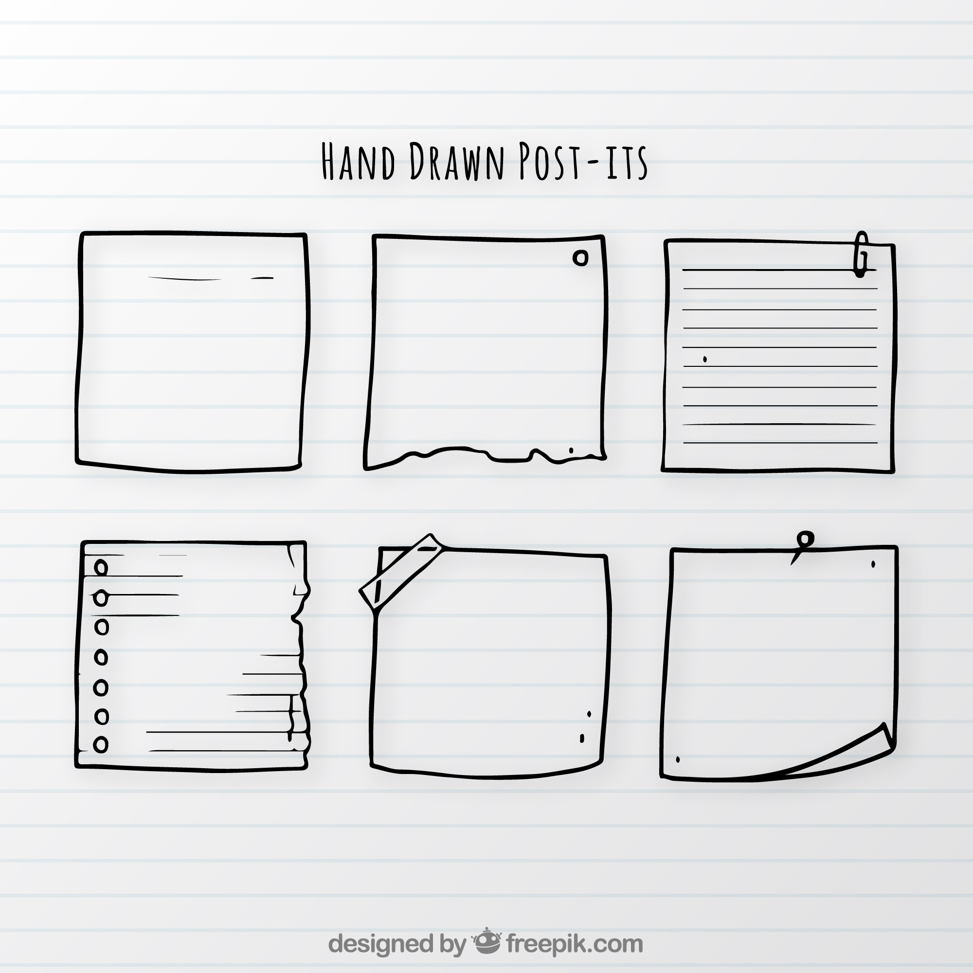 Set of hand drawn notes