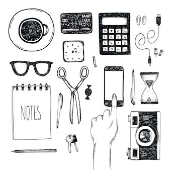 手描きのオフィスツールのセット。フリーランス、ビジネスをオンラインにするためのツール、起業家。