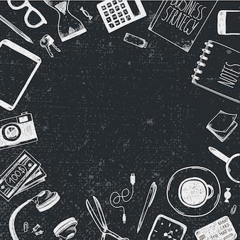 손으로 그린 office 도구 집합입니다. 프리랜서, 온라인 비즈니스를위한 도구, 기업가.