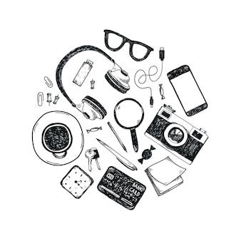 円で描かれた手描きのオフィスツールのセット。フリーランス、ビジネスをオンラインにするためのツール、起業家。