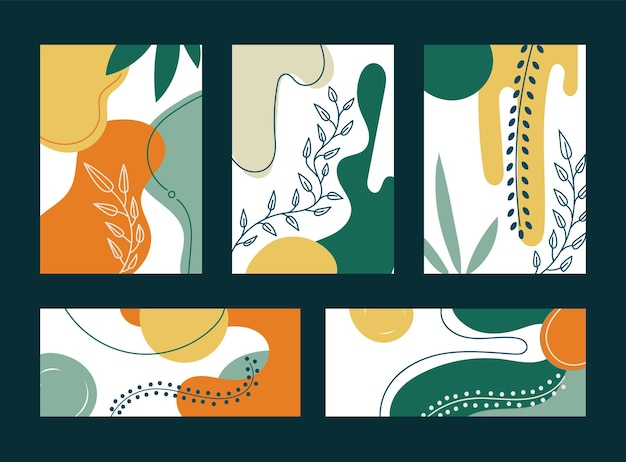 手描きの有機的な形と葉のセット