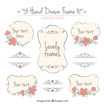 Set of hand drawn ornamental frames