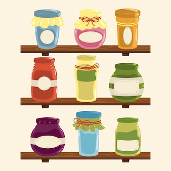 さまざまな食品と手描きのパントリーのセット