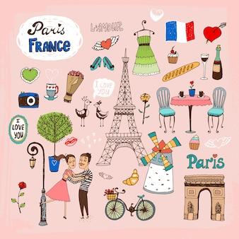 手描きのパリフランスのランドマークとアイコンのセット