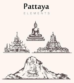 手描きのパタヤの建物のセット。パタヤの要素のスケッチイラスト。大仏像、ワットチャロン寺院、カオチチャン-黄金の山、ワットヤン