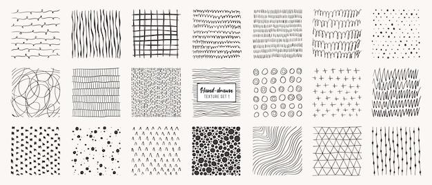 손으로 그린 패턴 절연의 집합입니다. 잉크, 연필, 브러시로 만든 텍스처. 반점, 점, 원, 선, 줄무늬, 선의 기하학적 낙서 모양.