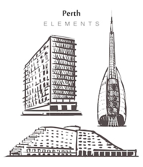 Набор нарисованных от руки зданий перта