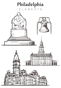 手描きのフィラデルフィアの建物のセット