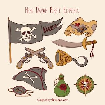 Набор рисованных пиратских аксессуаров