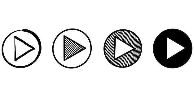 Набор рисованной значок кнопки игрока знак, изолированные на белом фоне. векторные иллюстрации.