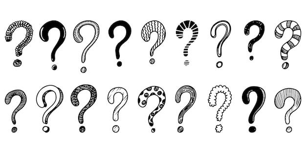 手描きの疑問符のセット。ベクトルイラスト。