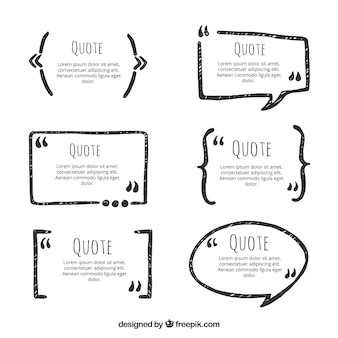 Set of hand drawn quotations frames