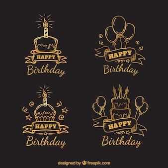 Набор нарисованных нарисованных ретро стикеров дня рождения