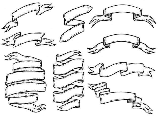 손으로 그린 리본 및 배너 세트. 로고, 라벨, 엠 블 럼, 사인, 포스터, 티셔츠 요소. 삽화