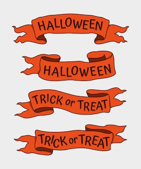 Набор рисованной лент для хэллоуина