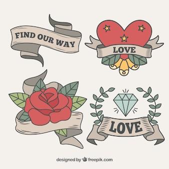 손으로 그린 로맨틱 문신 세트