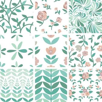 手描きのバラと植物のイラストのセット