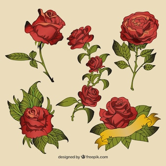 Set of hand-drawn roses tattoos