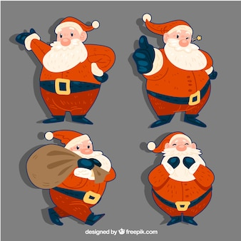 Set of hand-drawn santa claus stickers