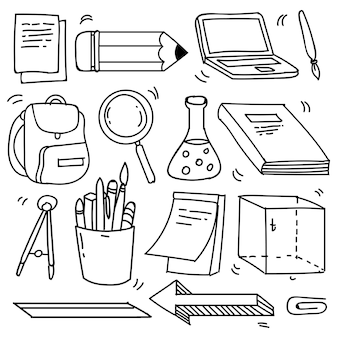 Набор рисованной школы клипарт. векторные иконки школы каракули и символы в стиле каракули, векторные иллюстрации