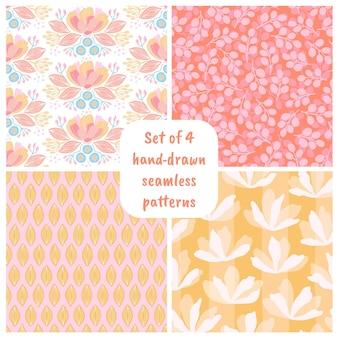 花と手描きのシームレスなパターンのセットです。紙、ギフト包装、壁紙、ファブリック、テキスタイルデザインのカラフルな花のイラスト。