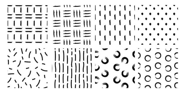 手描きのシームレスなパターンのセット