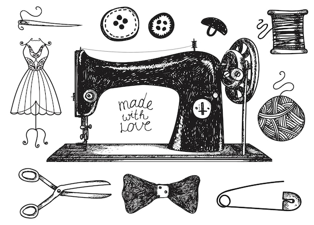 Набор рисованной шитья, старинные элементы ручной работы. нитки для шитья, фурнитура и аксессуары. черно-белая иллюстрация