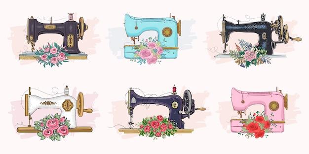 Набор рисованной швейных машин