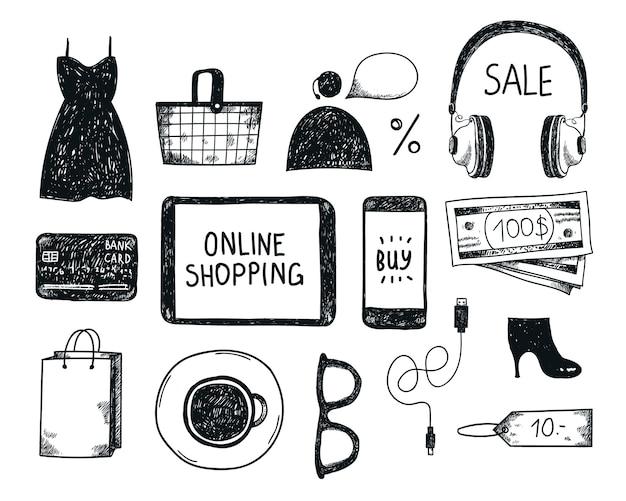 손으로 그린 쇼핑 온라인 개체, 그림, 아이콘의 집합입니다. 배너, 포스터, 카드 흑인과 백인