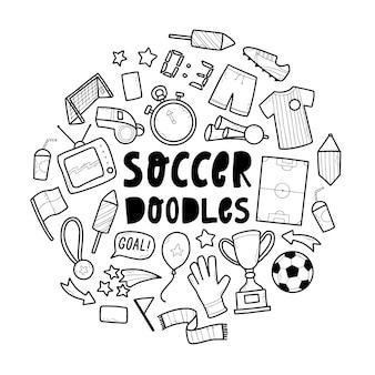 Набор рисованной футбол футбол каракулей