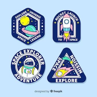 Набор рисованной космических стикеров