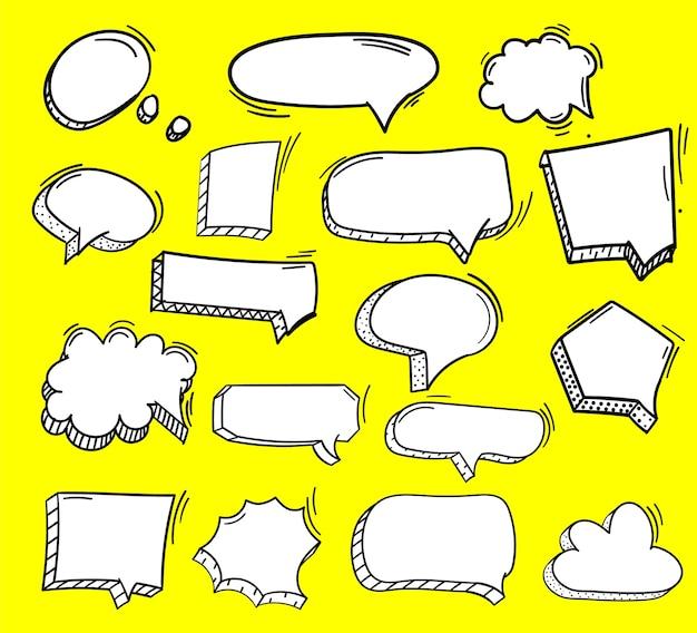 Набор рисованной иллюстрации пузыри речи.