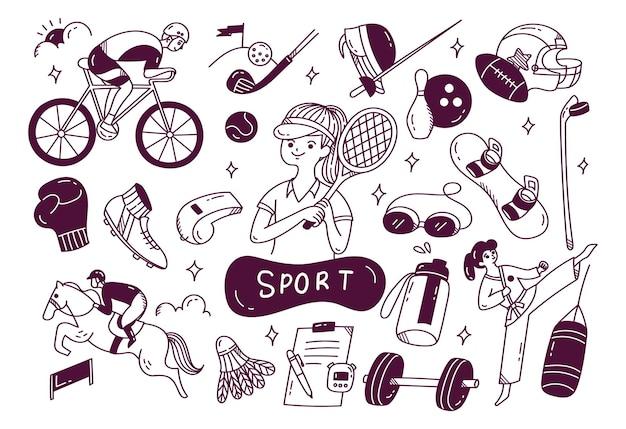 手描きのスポーツ用品、アスリート関連オブジェクトのセット