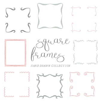 Набор рисованных квадратных рам