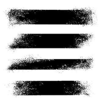 手描きのストロークのセット、背景の汚れ。テクスチャードモノクロ要素セット。 1色の芸術的な長方形の背景。