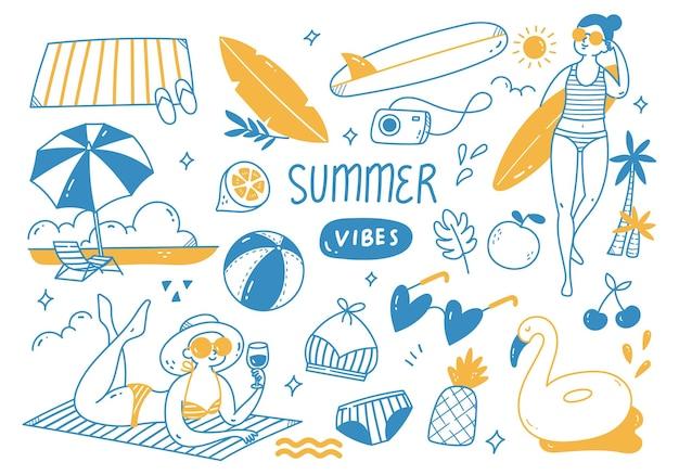 손으로 그린 여름 낙서 세트
