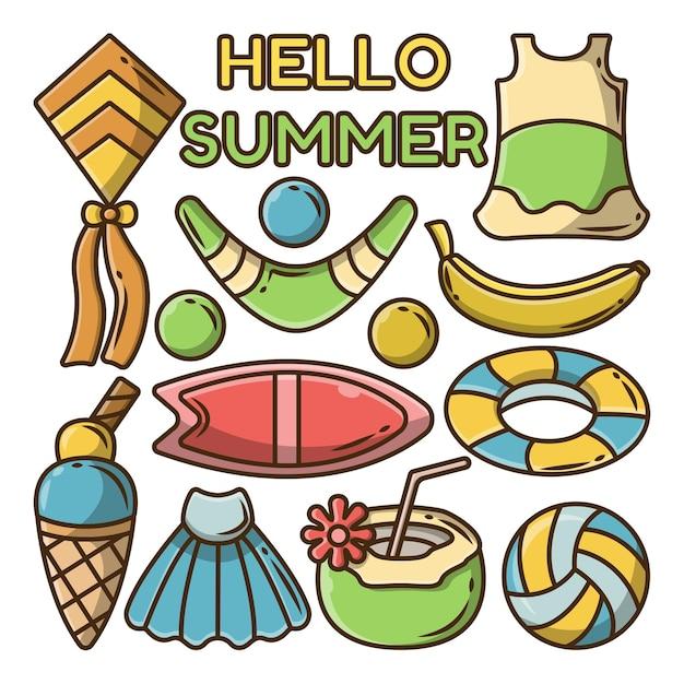 夏の挨拶バナーと手描きの夏のグループ漫画落書きのセット