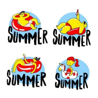 Набор рисованной летних наклеек