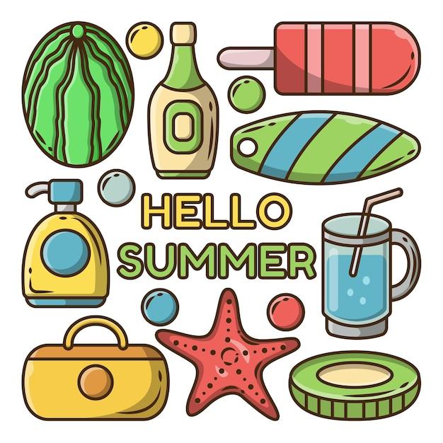 Набор рисованной летнего мультфильма каракули связка с поздравительным баннером