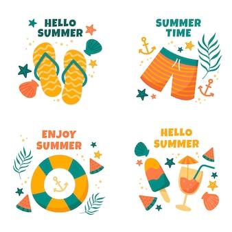 手描きの夏の時間ラベルのセット