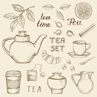 ヴィンテージの背景に分離された手描き茶アイコンのセット