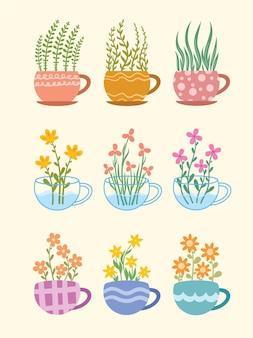 Набор рисованной чашки или стеклянной чашки с милыми цветочными орнаментами