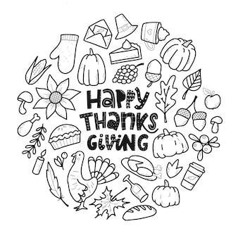 Набор рисованной каракулей благодарения