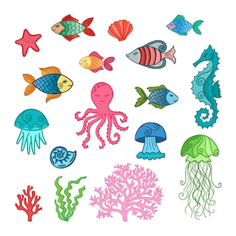 手描きの水中動植物のセットです。